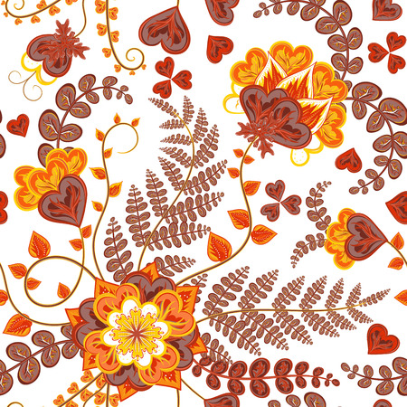 autumn motif: Fantasy flowers seamless hand drawing pattern. Floral ornament  on white background for fabric, textile, cards, wrapping paper, wallpaper template. Ornamental bright autumn motif