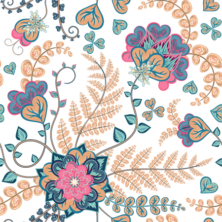 jacobean: Fantasy flowers seamless hand drawing pattern. Floral ornament  on white background for fabric, textile, cards, wrapping paper, wallpaper template.Ornamental pastel motif Illustration