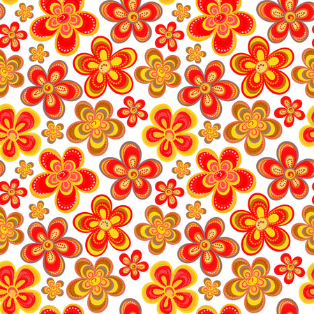 children s art: Vector seamless floral pattern in bright multiple colors. Colorful background with flowers and dots in style of child drawing or hippi. Positive spring summer texture.
