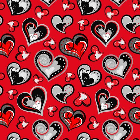 tilling: valentine seamless hearts pattern. Hand drawn. Seamless doodle hearts pattern. Hand drawn. Vector  illustration. Illustration