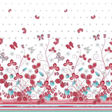 bedclothes: Vector seamless vertical pattern with Decorative strawberry and butterfly pink blue ornament on white background, hand drawn texture for clothes, bedclothes, invitation, card design etc.