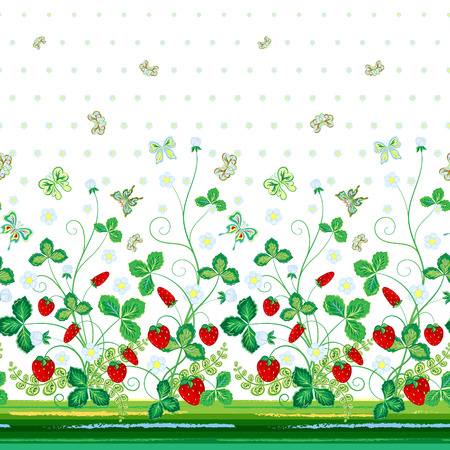bedclothes: Vector seamless vertical pattern with Decorative red green strawberry and butterfly ornament on white background, hand drawn texture for clothes, bedclothes, invitation, card design etc.