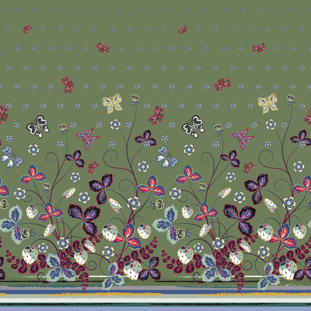 bedclothes: Vector seamless vertical pattern with Decorative violet pink blue strawberry and butterfly ornament on green background. Hand drawn texture for clothes, bedclothes, invitation, card design etc.