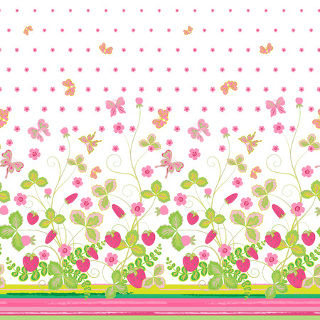 bedclothes: Vector seamless vertical pattern with Decorative pink light green  strawberry and butterfly ornament on green background. Hand drawn texture for clothes, bedclothes, invitation, card design etc.