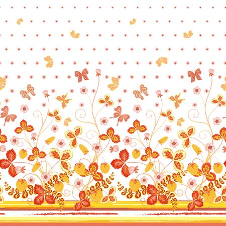 mariposas amarillas: estampado de flores blanco primavera transparente con fresas y flores de naranja y mariposas amarillas