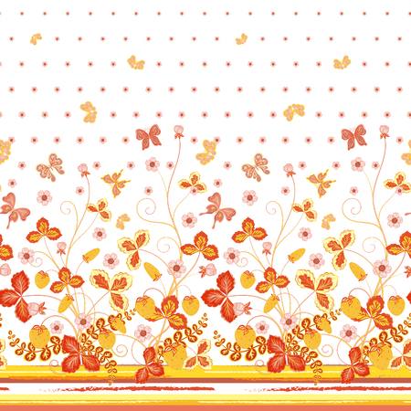 mariposas amarillas: Seamless spring white floral pattern with orange strawberries and flowers and yellow butterflies