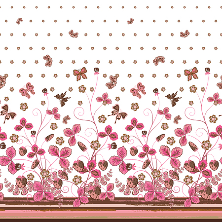 brown pattern: Vertical Seamless pink brown floral pattern with strawberries and flowers and translucent butterflies