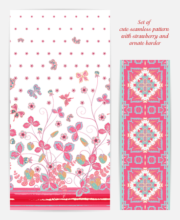 bedclothes: Set of seamless vector vertical pattern with Decorative pink strawberry and butterfly ornament and ornate border. Hand drawn texture for clothes, bedclothes, invitation, card design etc. Illustration