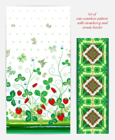 bedclothes: Set of seamless vector vertical pattern with Decorative red green strawberry and butterfly ornament and ornate border. Hand drawn texture for clothes, bedclothes, invitation, card design etc.