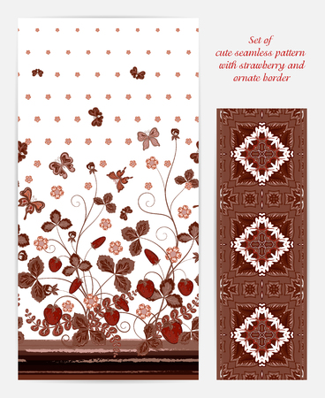 bedclothes: Set of seamless vector vertical pattern with Decorative pink brown strawberry and butterfly ornament and ornate border. Hand drawn texture for clothes, bedclothes, invitation, card design etc.