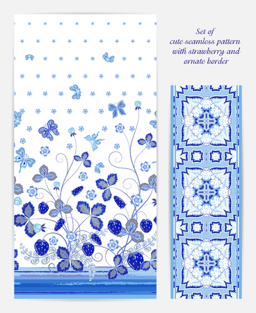 bedclothes: Set of seamless vector vertical pattern with Decorative blue  strawberry and butterfly ornament on white background and ornate border . Hand drawn texture for clothes, bedclothes, card design etc. Illustration