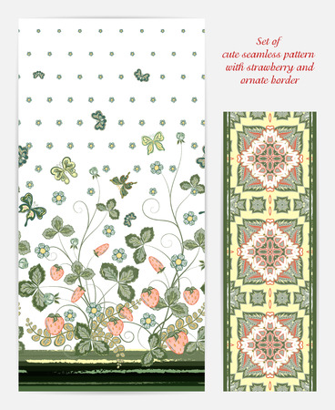 bedclothes: Set of seamless vector vertical pattern with Decorative pastel pink green strawberry and butterfly ornament and ornate tape. Hand drawn texture for clothes, bedclothes, invitation, card design etc. Illustration