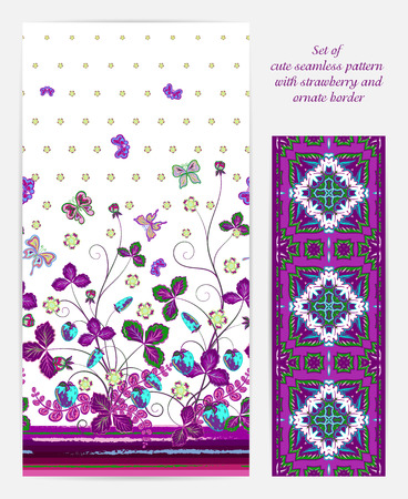 bedclothes: Set of seamless vector vertical pattern with Decorative violet strawberry and butterfly ornament and ornate border. Hand drawn texture for clothes, bedclothes, invitation, card design etc.