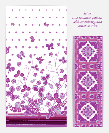 bedclothes: Set of seamless vector vertical pattern with Decorative lilac strawberry and butterfly ornament and ornate border. Hand drawn texture for clothes, bedclothes, invitation, card design etc.
