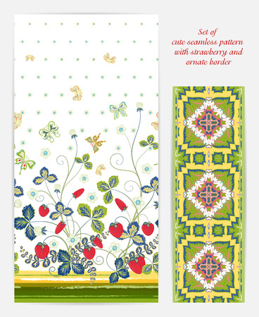 bedclothes: Set of seamless vector vertical pattern with Decorative yellow red green strawberry and butterfly ornament and ornate border. Hand drawn texture for clothes, bedclothes, invitation, card design etc. Illustration