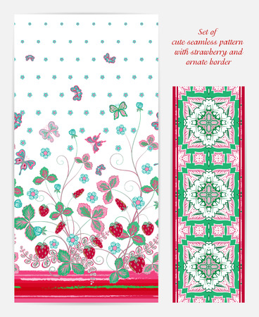 bedclothes: Set of seamless vector vertical pattern with Decorative red gray pink strawberry and butterfly ornament and ornate border. Hand drawn texture for clothes, bedclothes, invitation, card design etc.