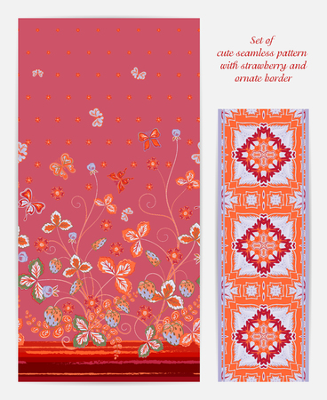 bedclothes: Set of seamless vector vertical pattern with Decorative red strawberry and butterfly ornament and ornate border. Hand drawn texture for clothes, bedclothes, invitation, card design etc.