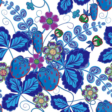 wild strawberry: Bright seamless pattern with a strawberry, leaves and flowers in blue tone (vector)