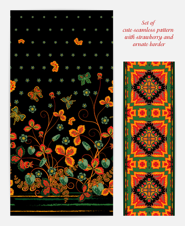 crop circle: Set of  vertical seamless spring black floral pattern with orange green strawberries, butterflies and flowers also ornate border (ribbon tape band edging )