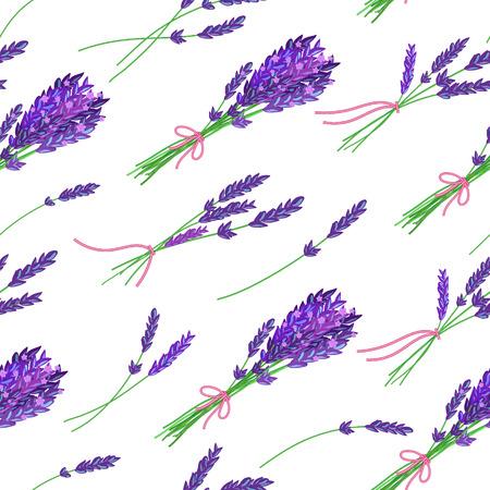 fragrant: Seamless pattern with hand drawn floral elements- fragrant lavender. Vector illustration. Illustration