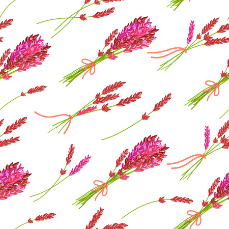 fragrant: Seamless pattern with hand drawn floral elements- fragrant lavender. Vector illustration in bright pink tone.