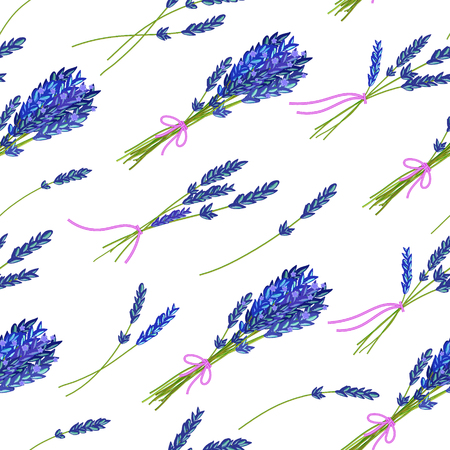 fragrant: Seamless pattern with hand drawn floral elements- fragrant lavender. Vector illustration in bright blue tone. Illustration
