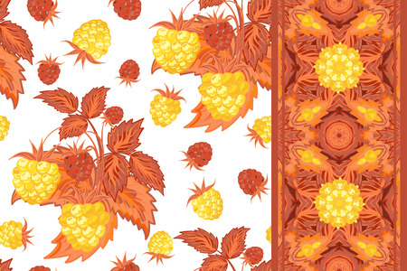 yeloow: Set of seamless background with yeloow raspberry, brown leaves on white background and border (ribbon, tape, band, strip). Vector illustration. Illustration