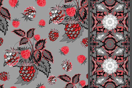 gray strip: Set of seamless background with red gray raspberry, leaves on gray background and border (ribbon, tape, band, strip). Vector illustration.