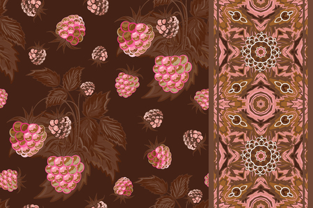 raspberry pink: Set of seamless background with pink raspberry, brown leaves on dark background and border (ribbon, tape, band, strip). Vector illustration.
