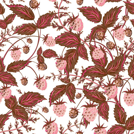 raspberry pink: Raspberries seamless pattern with pink raspberry and brown leaves on white background
