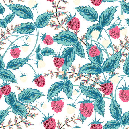 raspberry pink: Seamless raspberry pattern. Cute hand drawing raspberry background in blue pink tone. Vector illustration. For cards,  wedding or baby shower albums, backgrounds, wallpapers, arts and scrapbooks. Illustration