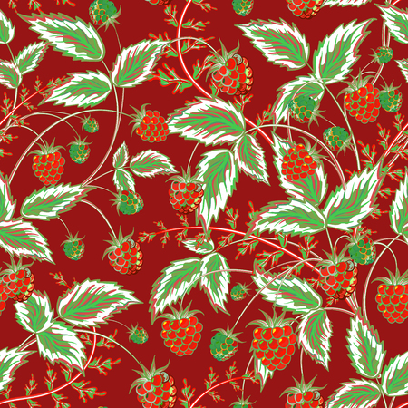 foreshortening: Colored raspberries seamless pattern. Seamless pattern with colored hand draw graphic dark red and green raspberries and leaves. Vector illustration.