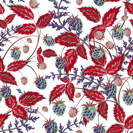 foreshortening: Colored raspberries seamless pattern. Seamless pattern with colored hand draw graphic navy blue red raspberries and leaves. Vector illustration. Illustration