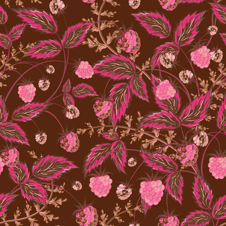 foreshortening: Colored raspberries seamless pattern. Seamless pattern with colored hand draw graphic pink brown raspberries and leaves. Vector illustration.