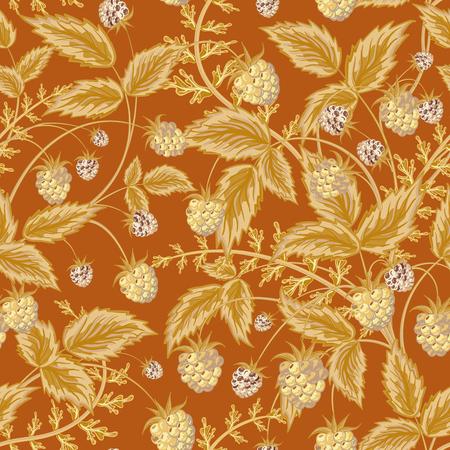 fondo para bebe: Patrón sin fisuras con las hojas y frambuesa. Fondo para su diseño, contrastando con bayas de color marrón claro y brillantes hojas en el contexto marrón. Ilustración del vector.