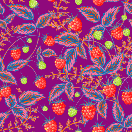 raspberry pink: Seamless pattern with leaves and raspberry. Background for your design with bright, contrasting red berries and pink blue leaves on violet backdrop. Vector illustration.