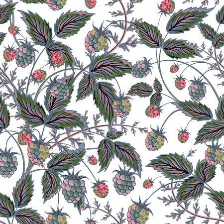 contrasting: Seamless pattern with leaves and raspberry. Background for your design with bright, contrasting pink berries and gray leaves. Vector illustration.