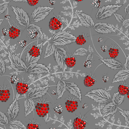 Seamless pattern with leaves and raspberry. Background for your design with bright, contrasting red berries and gray leaves on gray backdrop. Vector illustration. Illustration