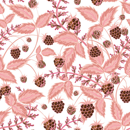raspberry pink: Seamless pattern with leaves and raspberry. Background for your design with bright, contrasting brown berries and pink leaves. Vector illustration.
