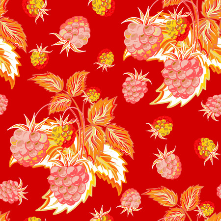 raspberry pink: Pattern of red pink raspberry hand painted. Fruit seamless background for menu and desserts, restaurants and cafes, wallpaper etc.