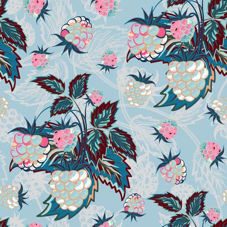 raspberries: vector illustration. Colorful blue pink seamless pattern of raspberries.