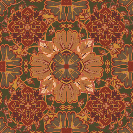 fantasia: Colorful, glaze seamless pattern of mandalas. Vector oriental pattern on a bright brown tones. Fairy floral pattern of circular elements.Can be used for textiles, carpet, tile, shawl.