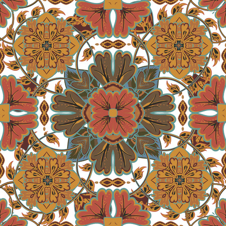 Colorful, glaze seamless pattern of mandalas. Vector oriental pattern on a bright brown tones. Fairy floral pattern of circular elements.Can be used for textiles, carpet, tile, shawl.