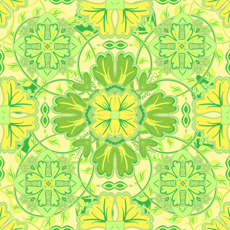 green carpet: Colorful, glaze seamless pattern of mandalas. Vector oriental pattern on a bright yellow green tones. Fairy floral pattern of circular elements.Can be used for textiles, carpet, tile, shawl. Illustration