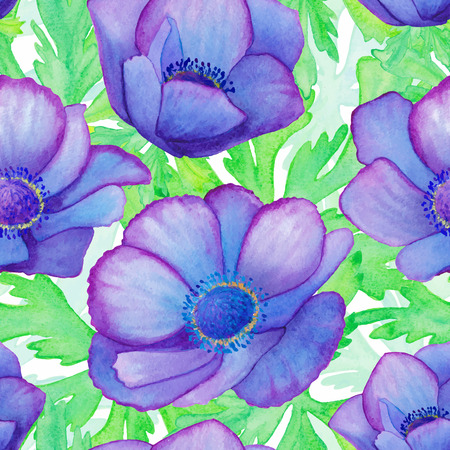 golden daisy: Hand painted watercolor vector blue green anemone seamless pattern background