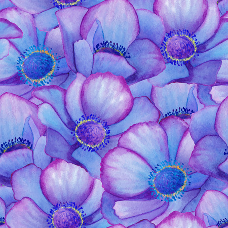 golden daisy: Hand painted watercolor vector blue anemone seamless pattern background