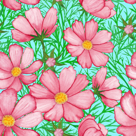 cosmos flower: watercolor rose flower pattern cosmos isolated on sky blue background vector
