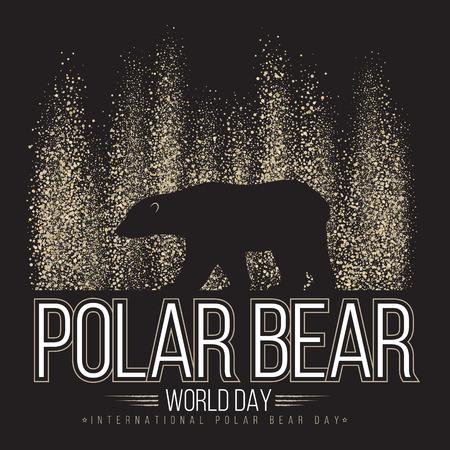 Polar bear on the background of the northern lights. International day of polar bear. Vector illustration