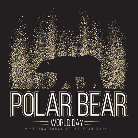 polar: Polar bear on the background of the northern lights. International day of polar bear. Vector illustration