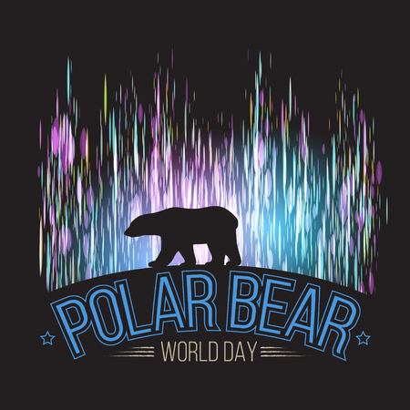 Polar bear on the background of the northern lights. International day of polar bear. Vector illustration